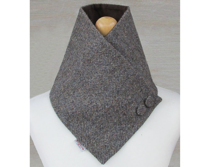 Harris Tweed Woodland Herringbone Wool Neck Warmer Scarf with Button Detail