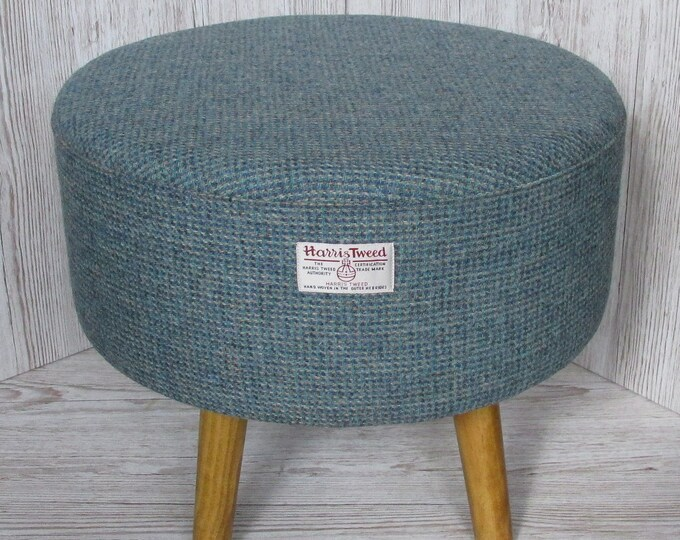 Harris Tweed Large Blue & Fawn Twill Hand Covered Footstool