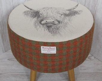 Harris Tweed Large Burnt Orange & Lovat Footstool with Highland Cow Top