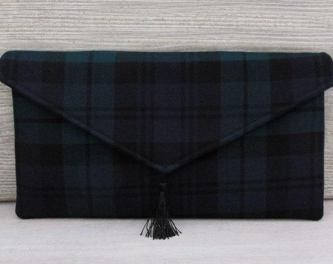 Black Watch Pure Wool Tartan Envelope Clutch Bag with Tassel