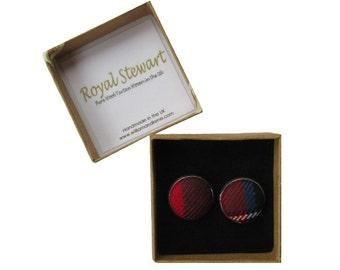 Royal Stewart Pure Wool Tartan Handmade Boxed Cufflinks