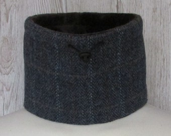 Harris Tweed Blue Mix Herringbone with Brown Overcheck Luxury Pure Wool Neck Warmer