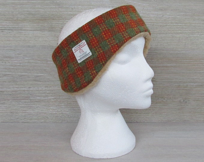 Harris Tweed Lovat & Burnt Orange Check Luxury Ear Warmer Headband