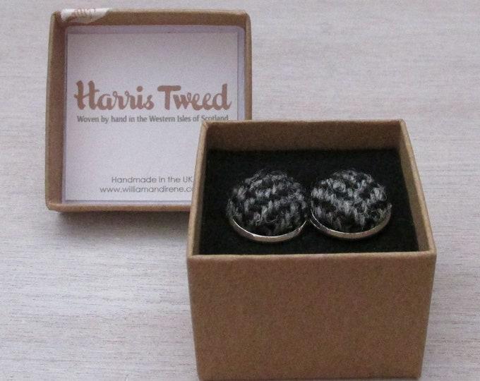 Harris Tweed Grey Herringbone Handmade Boxed Cufflinks