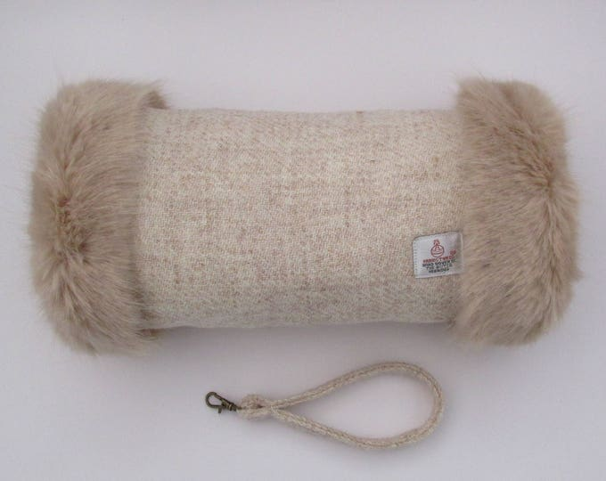 Harris Tweed Oatmeal Hand Muff with Soft Beige Faux Fur Trim