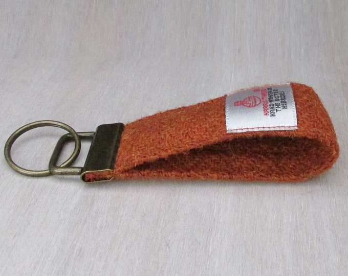 Harris Tweed Pure Wool Burnt Orange Looped Keyring On Chunky Metal Key Fob