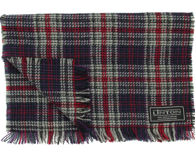 Linton Tweed Extra Wide Red, Deep Purple & Grey Tartan Fringed Scarf