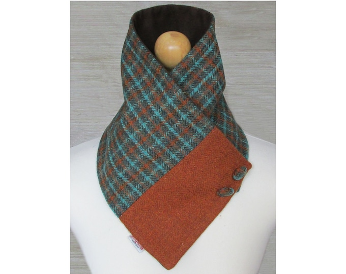 Harris Tweed Green & Burnt Orange Check Wool Neck Warmer Scarf with Button Detail
