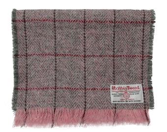 Harris Tweed Pink & Grey Herringbone Luxury Pure Wool Neck Scarf