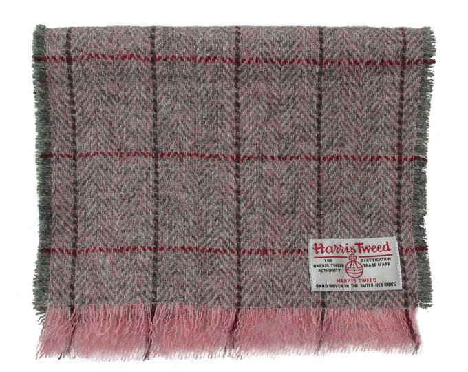 Harris Tweed Pink & Grey Herringbone Luxury Pure Wool Neck Scarf