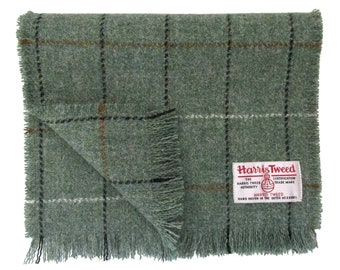 Harris Tweed Sage & Tricolour Overcheck Luxury Pure Wool Neck Scarf