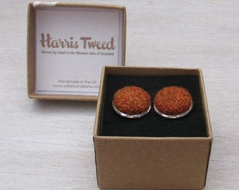 Harris Tweed Burnt Orange Handmade Boxed Cufflinks