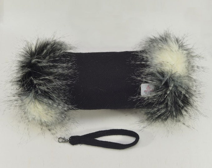 Harris Tweed 100% Wool Jet Black Hand Muff with Black, Grey & White Faux Fur Trim