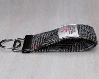 Harris Tweed Grey Herringbone with Checks & Flecks Pure Wool Looped Keyring On Chunky Metal Key Fob