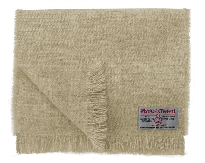 Harris Tweed Oatmeal Beige Luxury Pure Wool Neck Scarf