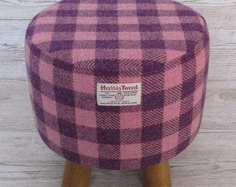 Harris Tweed Pink & Purple Check Hand Covered Footstool