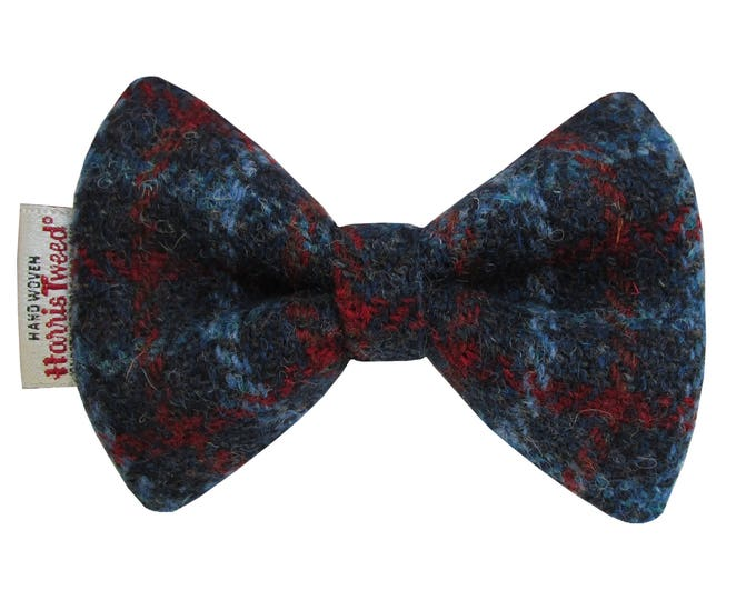 Harris Tweed Blue & Red Check Designer Dog Bow Tie