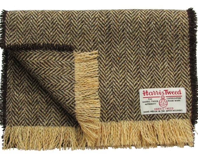 Harris Tweed Brown & Golden Beige Herringbone Pure Wool Neck Scarf