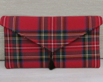 Royal Stewart Pure Wool Red Tartan Envelope Clutch Bag with Tassel