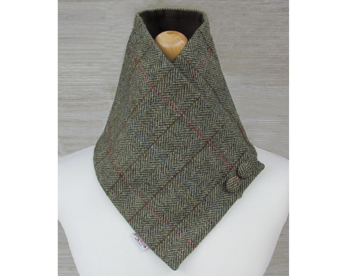 Harris Tweed Green & Fawn Herringbone Wool Neck Warmer Scarf with Button Detail