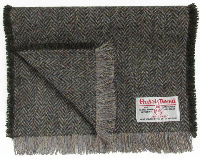 Harris Tweed Woodland Brown Herringbone Pure Wool Neck Scarf
