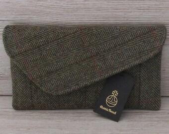 Harris Tweed Asymmetric Green & Fawn Herringbone Clutch Bag