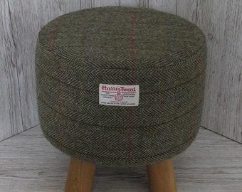Harris Tweed Green & Fawn Herringbone Hand Covered Footstool