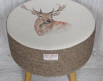 Harris Tweed Large Brown & Golden Beige Herringbone Footstool with Stag's Head Top