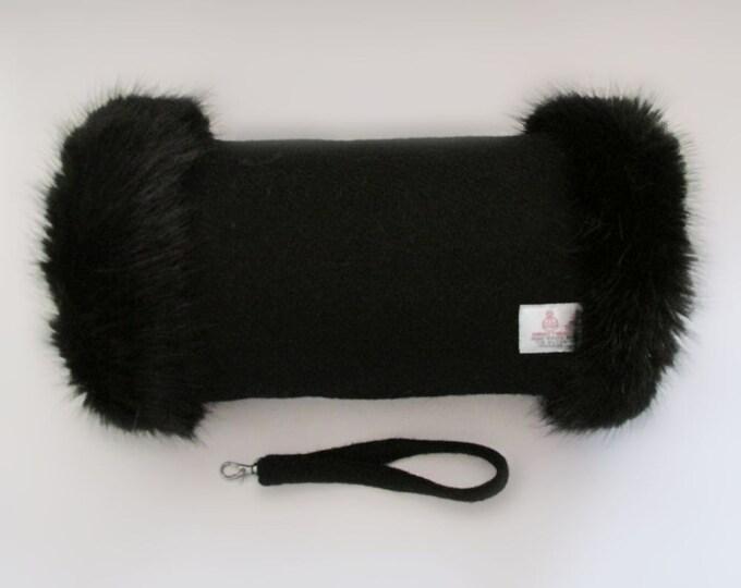 Harris Tweed 100% Wool Jet Black Hand Muff with Black Faux Fur Trim