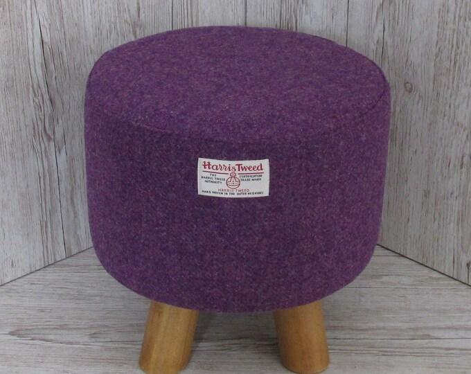 Harris Tweed Rich Purple Hand Covered Footstool