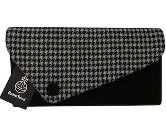 Harris Tweed Asymmetric Houndstooth & Jet Black Clutch Bag
