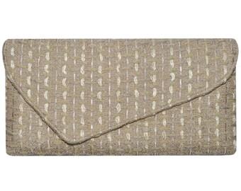 Linton Tweed Soft Beige & Gold Asymmetric Clutch Bag
