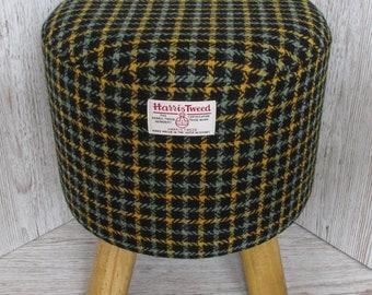 Harris Tweed Sage & Mustard Chek on Black Hand Covered Footstool