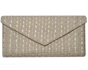 Linton Tweed Soft Beige & Gold Envelope Clutch Bag