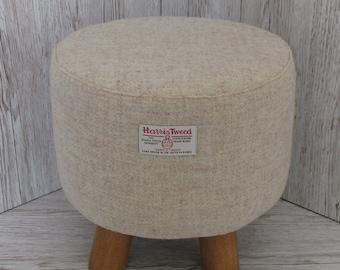 Harris Tweed Oatmeal Beige Hand Covered Footstool