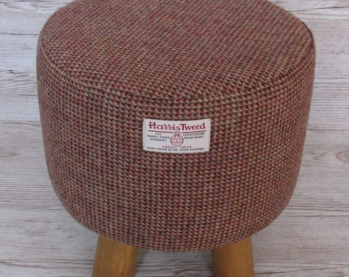 Harris Tweed Wine & Fawn Mix Twill Hand Covered Footstool