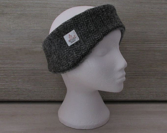 Harris Tweed Grey Herringbone Luxury Ear Warmer Headband