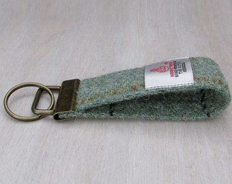 Harris Tweed Pure Wool Sage Green Looped Keyring On Chunky Metal Key Fob