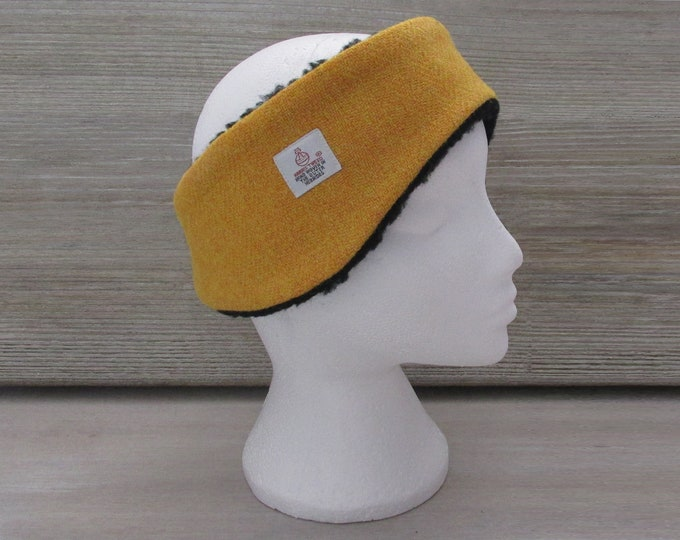 Harris Tweed Mustard Luxury Ear Warmer Headband