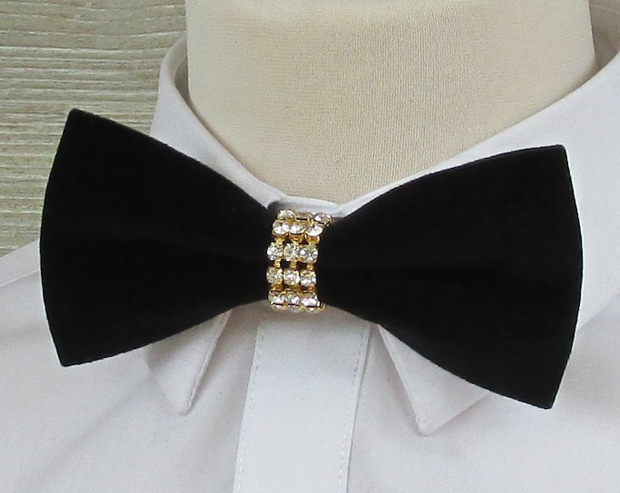 Black Velvet Luxury Bow Tie with Diamante & Gold Band