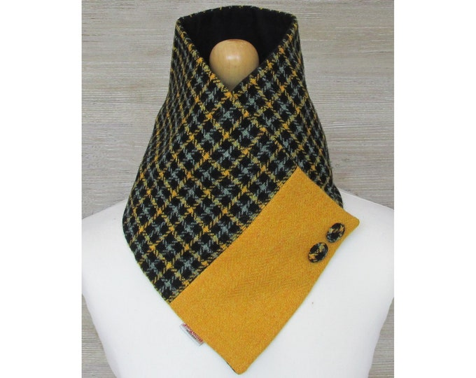 Harris Tweed Sage & Mustard Check Wool Neck Warmer Scarf with Button Detail