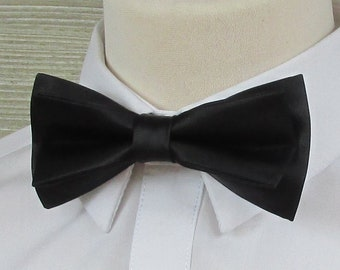 Black Satin Classic Luxury Bow Tie