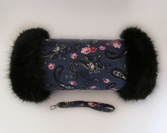 Vintage Style Blue Paisley & Pink Roses Black Faux Fur Trimmed Hand Muff
