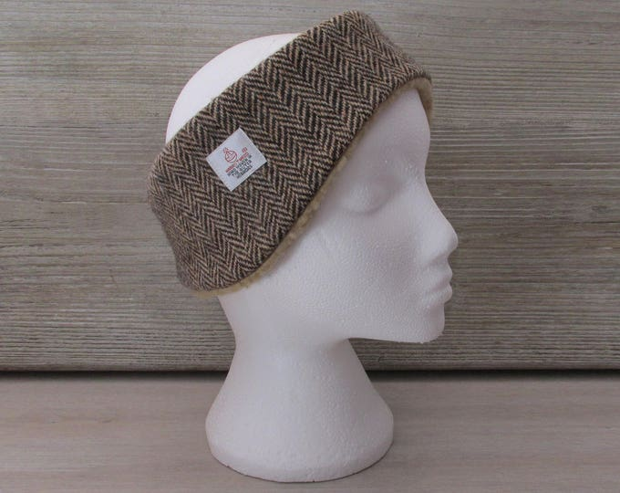 Harris Tweed Brown & Golden Beige Herringbone Luxury Ear Warmer Headband
