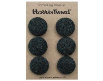Harris Tweed Pure Wool Diesel Green Handmade Covered Set of 6 Buttons 24mm Diameter