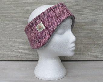 Harris Tweed Heather Purple & Pink Herringbone Luxury Ear Warmer Headband