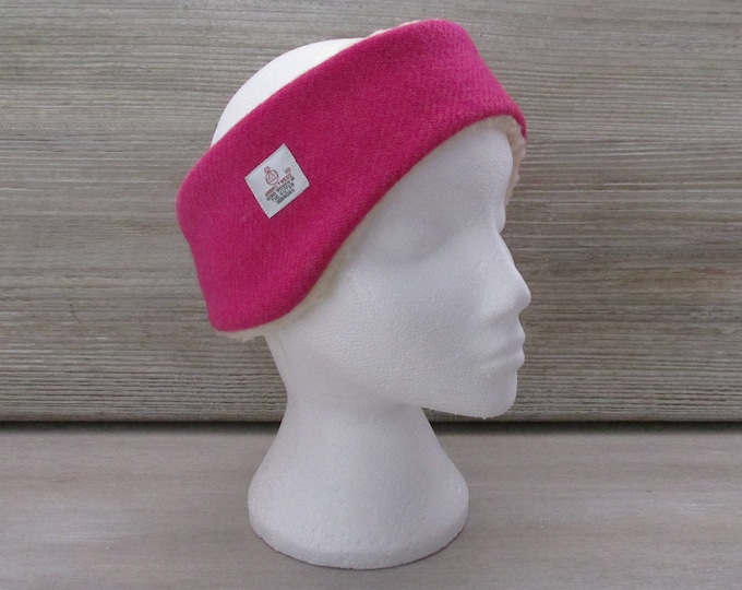 Harris Tweed Fuchsia Pink Luxury Ear Warmer Headband
