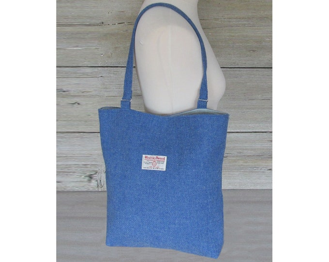 Harris Tweed Large Denim Blue Slouchy Shoulder Tote Bag