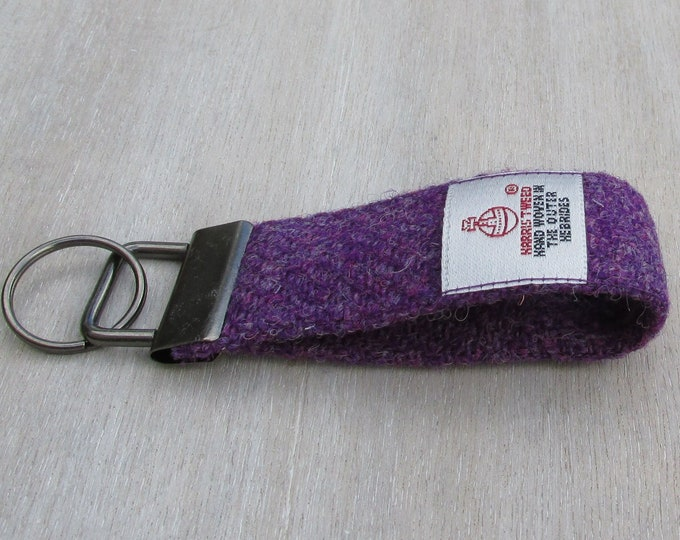 Harris Tweed Pure Wool Deep Purple Looped Keyring On Chunky Metal Key Fob