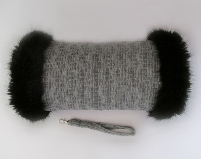Linton Tweed Grey Hand Muff with Black Faux Fur Trim